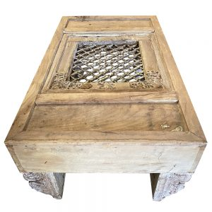 Vintage Carved Coffee Table with Iron Latice in the centre