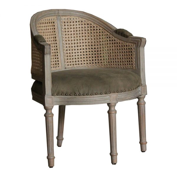 Round back Rattan Arm Chair with olive cotton suede upholstery