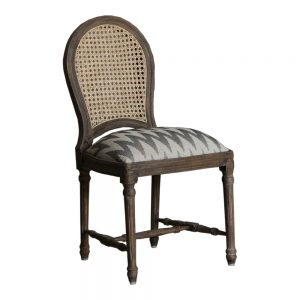 Rattan Back Dining Chair with cotton upholstery