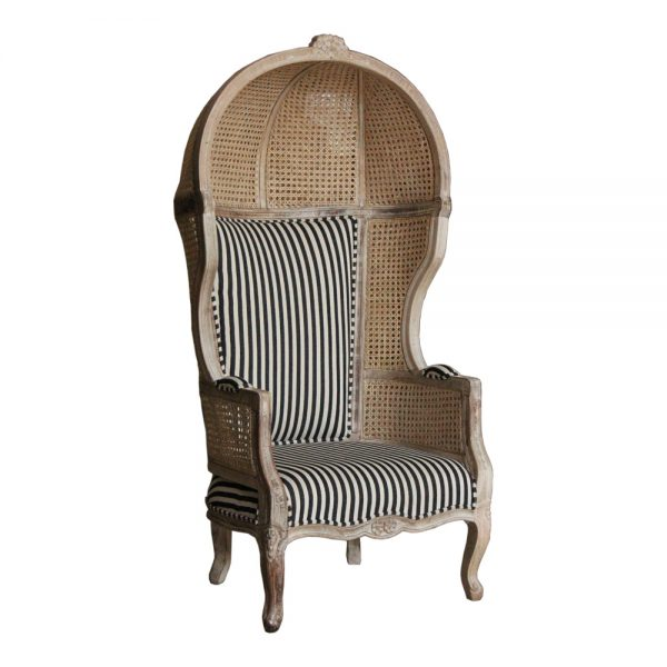 Rattan Canopy Arm Chair with striped cotton upholstery