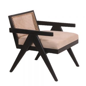 Black armchair with rattan back and cushion bottom