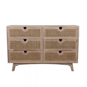 Rattan Drawer Dresser with 6 drawers in two columns