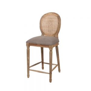 Rattan Back Bar Stool with upholstered bottom in Grey Linen