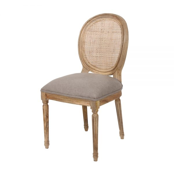 Rattan Back Dining Chair with upholstered bottom in Grey Linen
