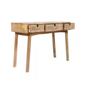 Sahara Cane Drawer Console with 3 open drawers
