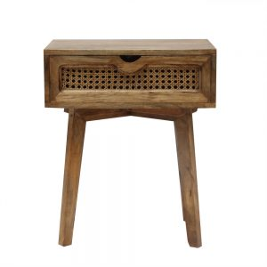 Bedside Table with rattan drawer in a natural finish