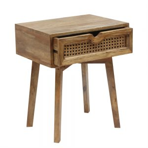 Bedside Table with slightly open rattan drawer to show the groove which runs on in a natural finish