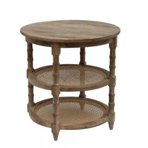 Malabar Round Rattan Side Table with two rattan shelves