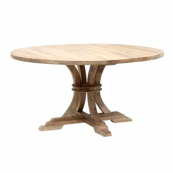 Yana Round Dining Table in a lime wash finish